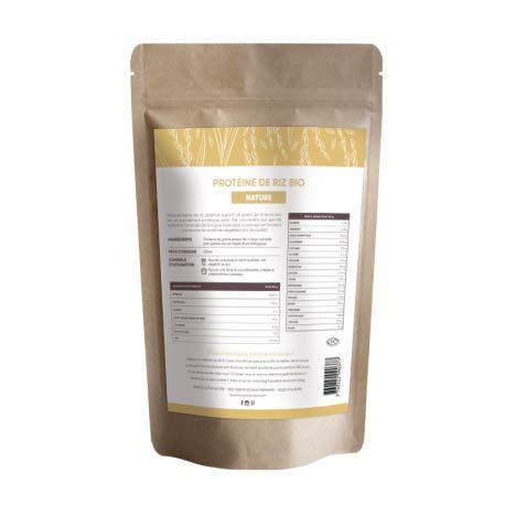 Protéine de Riz brun Nature pré-germé, certifié BIO - 100% Vegan, Sans OGM, sans Gluten, sans allergènes, sans soja - 1kg