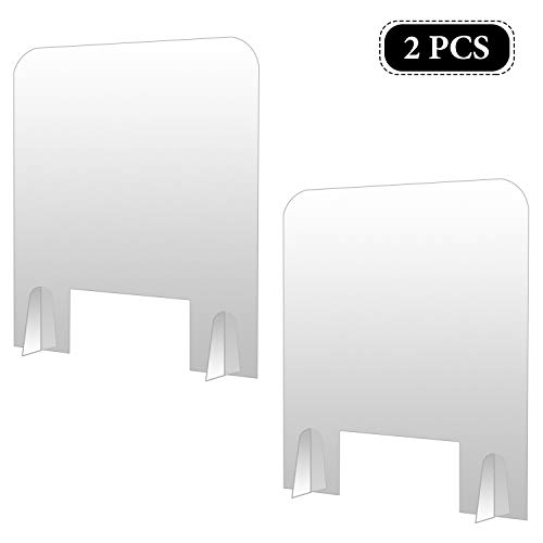 changsha 2 Pack Sneeze Guard Acrylic Shields 17.7 × 15.7Inch Clear Portable Acrylic Divider, Plexiglass Barrier Protection Shield, Sneeze Guard for School Office Restaurants Sale Counters