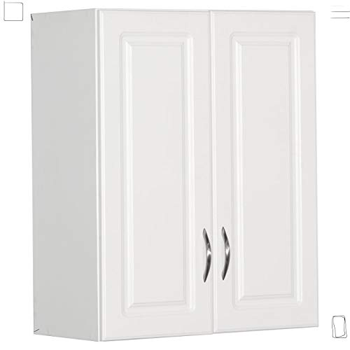 Garage or Laundry Room Wall Storage Cabinet 30 in. H White Finish with Raised Panel Door and Nickel-plated Hardware
