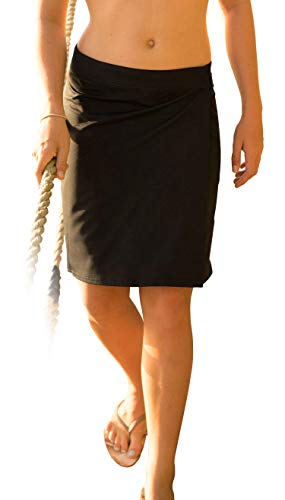 RipSkirt Hawaii - Length 2 - Quick Wrap Athletic Cover-up that Multitasks as the Perfect Travel/Summer Skirt,Black,X-Large / 16-18