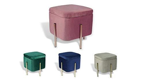 Avior Home Sitzhocker Schminkhocker aus Samt Sitzwürfel Aufbewahrungsfußhocker mit Metallbeine Quadrat (Pink)