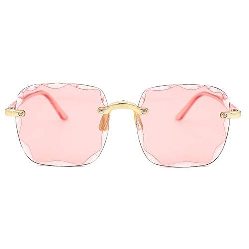 N\A Gafas de Sol de Moda Las Mujeres/Hombres Cuadrado Retro Gafas de Sol de Las Mujeres sin Marco Degradado Gafas de Sol al Aire Libre (Lenses Color : Pink Pink)