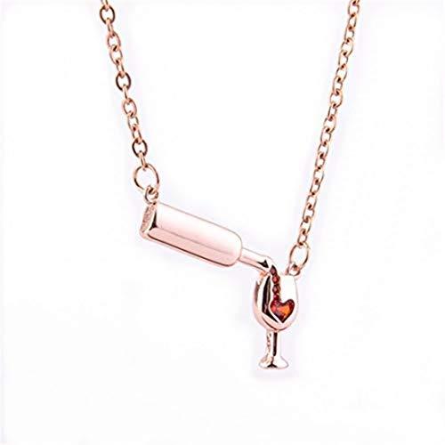 yichahu Collar con cadena de clavícula para mujer, diseño de botella de vino tinto