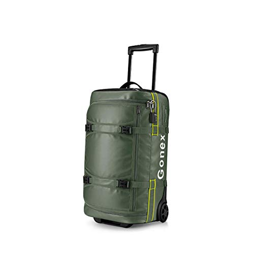 Gonex 50L wasserdichte Reisetasche mit Rollen, Faltbarer Reisekoffer Rollkoffer Trolley mit TSA Schloss und Versteckter Griff, Schwarz