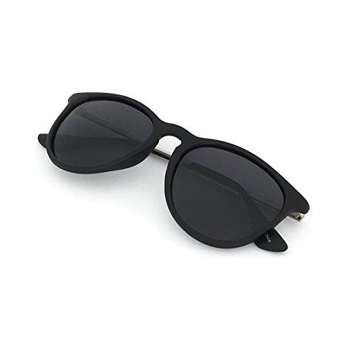 JS Piha Classic Chic Round Cat Eyes Matte Polarized 400UV Sunglasses Unisex Women Men Silver Temples Black Lens