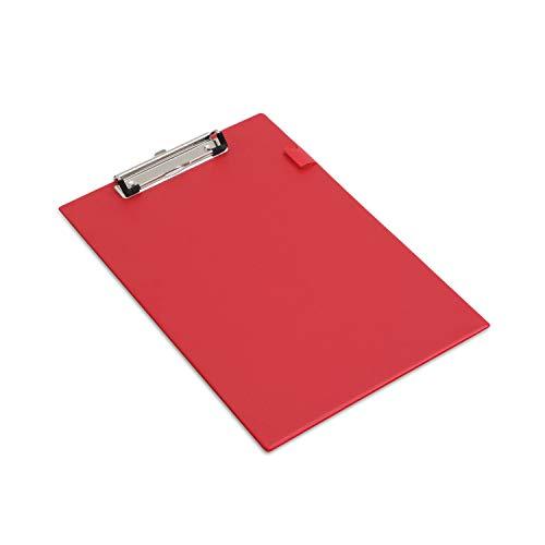 Rapesco documentos - Portapapeles con pinza/clip de seguridad, color rojo