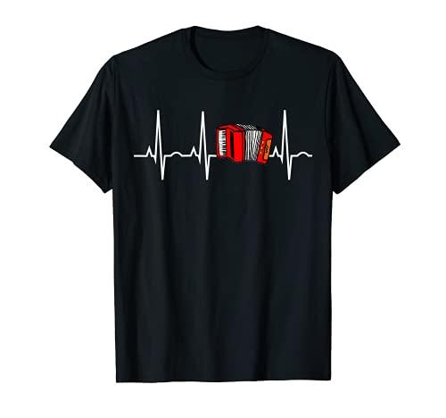Accordion Shirt - Polka Musician Heartbeat T-Shirt T-Shirt