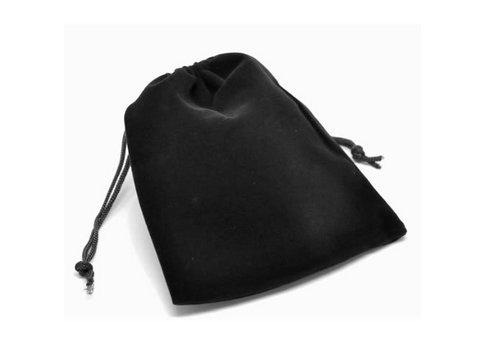 アクセサリーの保存・プレゼント用ポーチ ベロア調巾着袋 Lサイズ 黒×10枚セット/包装 ラッピング