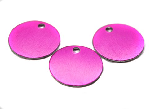 """Ten (10) 1"""" Anodized Aluminum Discs with Pre-Drilled Hole, You Choose Color -Finished Blanks for Stamping - 22 Gauge (Pink)"""