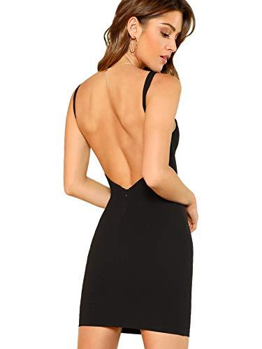 SOLY HUX Damen Spaghetti-träger Rückenfrei Figurbetont Kleid Ärmlos mit Reißverschluss Schwarz XS