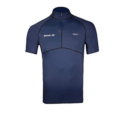 BEUCHAT - Rashguard Atoll Homme - T-shirt Zippé Anti-UV - Slim Fit - Coupe Anatomique - Élasthanne - Homme, Bleu, XS