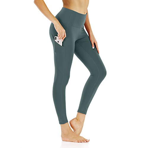 scicent Womens Leggings Lady Yoga Pants with Pockets - Leggings with Pockets, High Waist Tummy Control Non See-Through Workout Pants BlueInk M