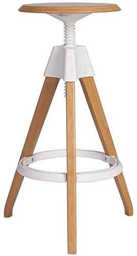 QTQZDD Moderne creatieve draaistoel barkruk keuken ontbijt eettafel en stoelen massief hout teller hoge stoel vrije tijd stoel in hoogte verstelbaar wit (kleur: A) 1 1