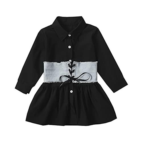 1-6 años vestido de camisa para niñas pequeñas con corsé chaleco de manga larga Bustier vestido vintage Streetwear bebé otoño vestido, D, 18-24 Meses