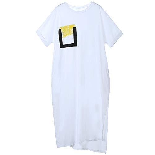 BINGQZ Cocktailjurken Stretch katoenen jurk in de lange zomer vrouwen lange t-shirt rok zomerjurk gebreide jurk