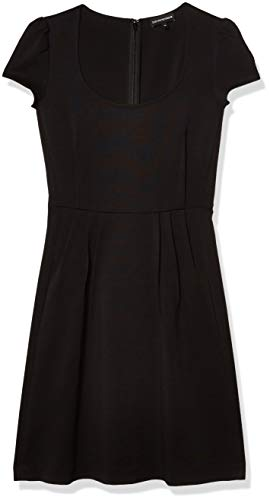 Emporio Armani Damen A-Line Scoop Neck Dress Kleid, schwarz, 70