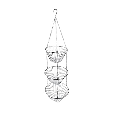 Fox Run 6312 Three Tier Hanging Wire Baskets, Chrome