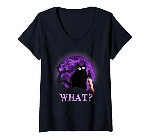 Womens What Murderous Cat Holding Knife Funny Halloween Costume V-Neck T-Shirt