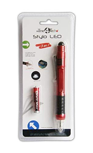 Anik-Shop 3in1 TOUCHPEN mit LED Licht 14,5cm Kugelschreiber Touchscreenstift 3-Farben 57 (Rot)