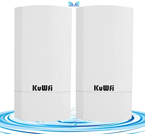 KuWFi 2-Pack 300Mbps Wireless outdoor CPE Kit,Indoor&Outdoor Point-to-Point Supports 1KM transmission distance solution for PTP, PTMP application