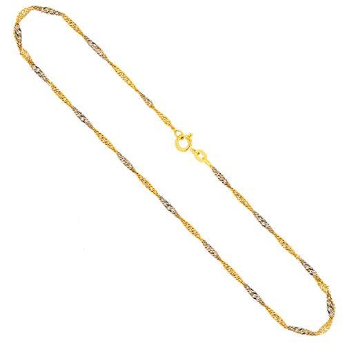 Goldkette, Singapurkette Bicolor Gelbgold/Weißgold 333/8 K, Länge 40 cm, Breite 1.8 mm, Gewicht ca. 2 g, NEU