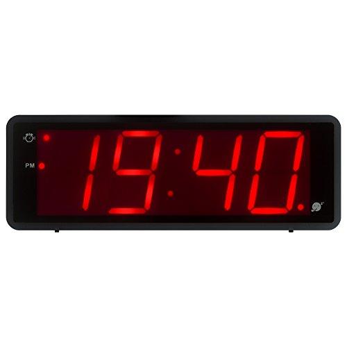 KWANWA - Reloj Despertador Digital con Pantalla Grande de 1,8 Pulgadas, Pantalla de 12/24 Horas, Alarma y repetición Diaria, Color Negro