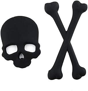 KENTT- Car Stickers - 1pc 3D Car Sticker Skull Metal Skeleton Crossbones Motorcycle Sticker Label Skull Emblem Badge Car Styling Stickers Decal Decor (Black)