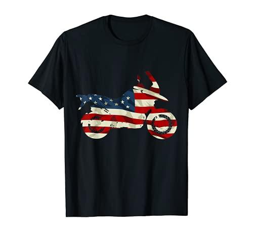 Motocicleta Bandera de Estados Unidos Vintage Aventura Biker Off Road Rider Camiseta