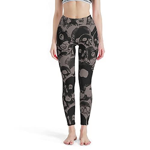 Leggings para mujer con diseño de calavera, elásticos, para fitness, yoga, etc. blanco XS