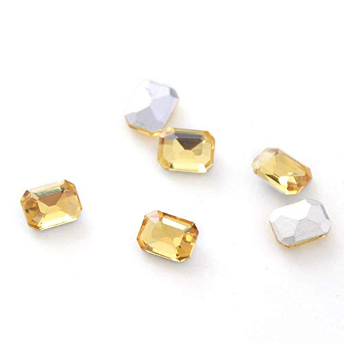 Gouen 20Pcs Mix Crystal Nail Art Rhinestones Gold Octagon Stones Gem for Nail Art Charms 3D Decoration Manicure,Golden Yellow