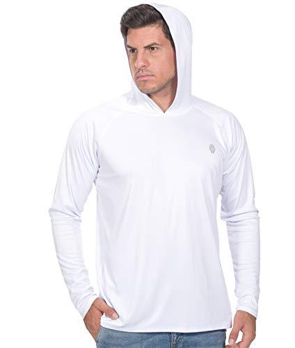 Shirts for Men Hoodies Sun Protection - Long Sleeve Rash Guard Fishing Tshirt White