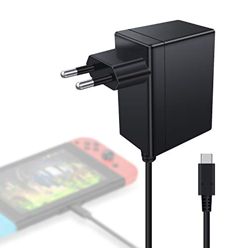 Cargador Nintendo Switch Kimood Cargador y Adaptador Nintendo Switch Lite 15V-2.6A Carga Rápida Type C, Cargador para Switch Dock y Mando para Nintendo Switch, Compatible com Modo TV