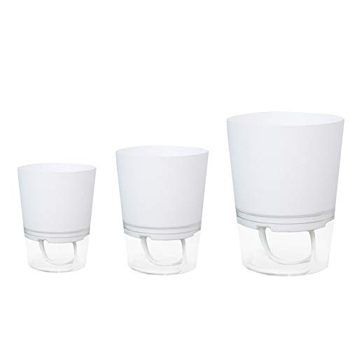 POHOVE 3 vasi autoirriganti in 3 dimensioni, per piante da interni, in plastica, a doppio strato, con corda in cotone assorbente