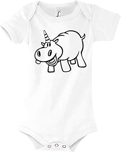Shirtstown Body Bébé Drôle Animal Einhornnilpferd,Licorne,Hippopotame - Blanc, 18-24 Monate