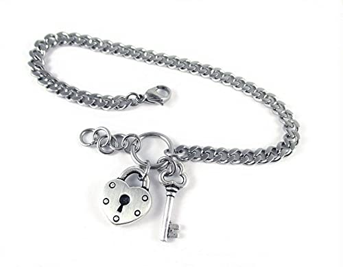 Heart Lock Key Custom Name Initials Word Don't miss the campaign Bracelet Always discount or