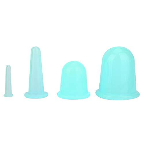 Ensemble de thérapie de ventouses faciales Vaccum Masseur facial Ventouses Tasse Lifting du visage Traitement raffermissant Traitement de thérapie (4pcs)(vert)