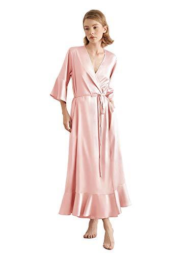 SIORO Bridesmaid Robe Ruffle Hem Belted Womens Silk Short Bathrobe Satin Kimono for Bridesmaids Small~X-Large