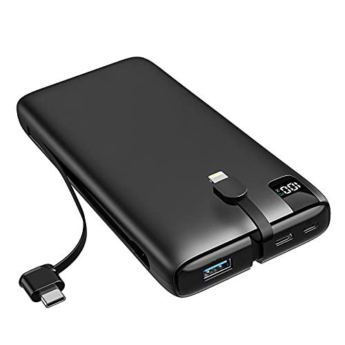 SOARAISE Power Bank 26800mAh Cargador Portátil USB C PD 18W Paquete de Batería Externa de Carga Rápida con iOS Incorporado y Cables USB C para Teléfonos Inteligentes y Tabletas