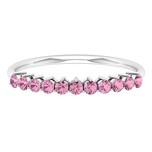 Anillos para mujer, anillo de media eternidad, anillos apilables de piedras preciosas, oro blanco, Metal precioso. Piedra preciosa. Piedra, Diamante negro creado en laboratorio,