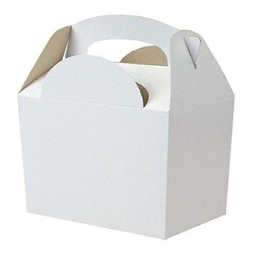 6x Blanco sin Líneas Cajas Fiesta Comida Lonchera de Cartón para Regalo Boda/Niños