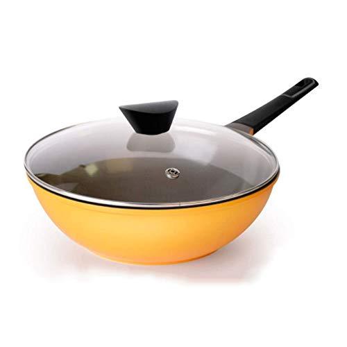 ZXYY Wok Speciality Antiadherente Apto para lavavajillas, Apto para Horno, Gratuito, Jumbo Wok Utensilios de Cocina (Color: Amarillo)