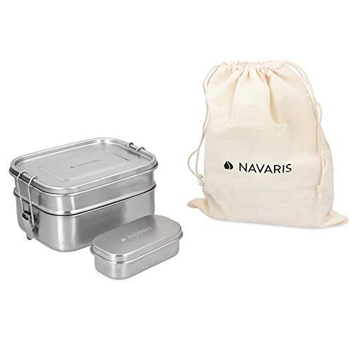 Navaris Boîte Repas Acier - Boîte à Repas hermétique 100% INOX avec 3 pièces - Lunch Box sans BPA 800ml 600ml 180ml - Bento Box avec loquet