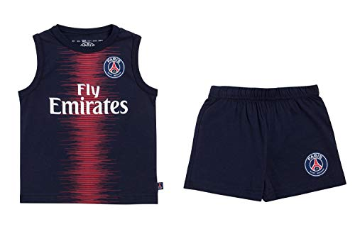 Paris Saint-Germain Set aus Tank-Top mit Shorts für Babys, PSG, Trikot Fly Emirate, offizielle Kollektion, 12 Monate