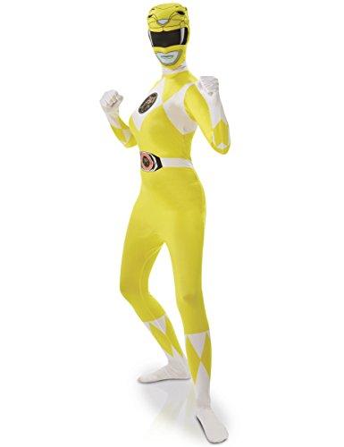 Rubie's Officiële Power Rangers Kostuum, Geel Ranger 2e Huid Volwassen Dames Grootte Klein