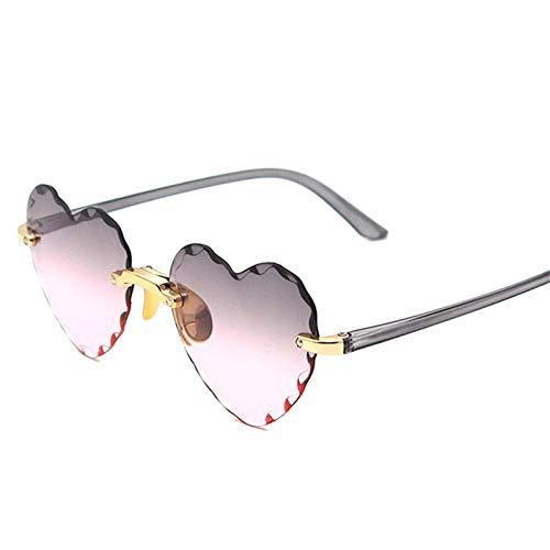 Gafas De Sol Hombre Mujeres Ciclismo Gafas De Sol En Forma De Corazón Moda para Mujer Gafas De Sol Sin Montura Lindas Gafas Gradiente-Grispink