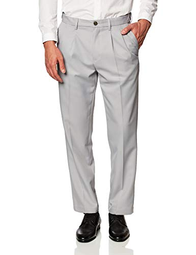 Amazon Essentials Expandable Waist Classic-Fit Pleated dress-pants, Light Grey, 30W x 34L