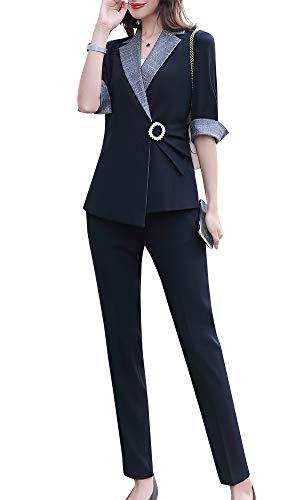 LISUEYNE Dames Blazer Pant Suit Unieke Grote Mentale Ring Sluit met Zijde Riem Wok Suits voor Vrouwen Blazer Jas en Broek