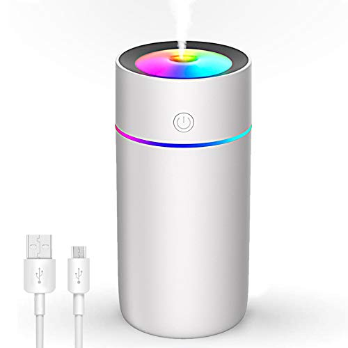 USB Luftbefeuchter 320ml, Swonuk Mini Air Humidifier mit 7 Farben Atemlichter, Automatische Abschaltung, Einstellbare Nebelmodi, geeignet für Schlafzimmer, Büro, Auto