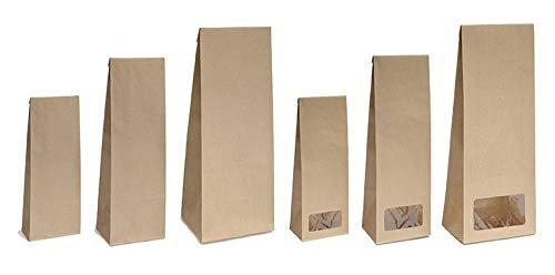 Blockbodenbeutel mit/ohne Sichtfenster - 100g/250g/500g - Größe 7 x 4 x20,5 cm - Papiertüten Bodenbeutel Geschenktüte Papierbeutel Tütchen Kraftpapier (100g – mit Sichtfenster, 50 Stk. - OPP)