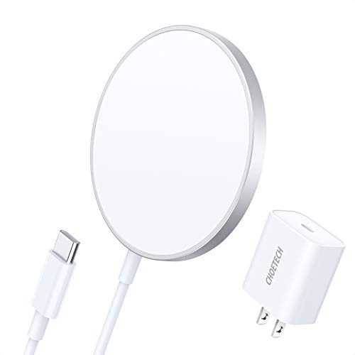 CHOETECH Magnetic Wireless Charger, Compatible with MagS Charger, 5ft Cable (with Fast Charge 20W USB C PD Adapter) Fast Wireless Charging Pad for iPhone 12/12 mini/12 Pro/12 Pro Max AirPods Pro 2
